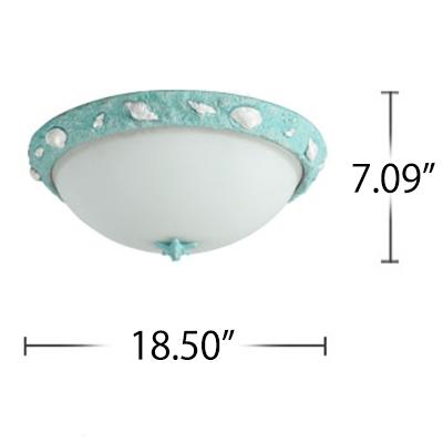 Seaside Resin Bowl Flushmount Kids Room 1 Light Ceiling Light Fixture in Sky Blue