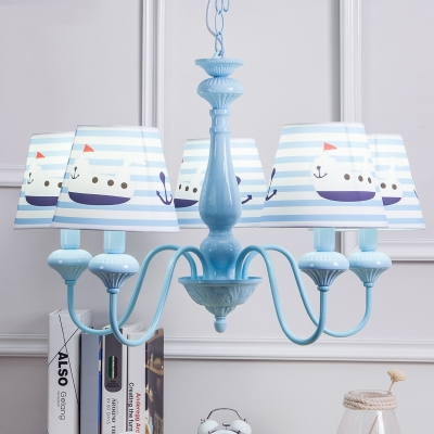 5 Lights Strips Ceiling Chandelier Nautical Boys Room Light Fabric Suspended Light in Blue