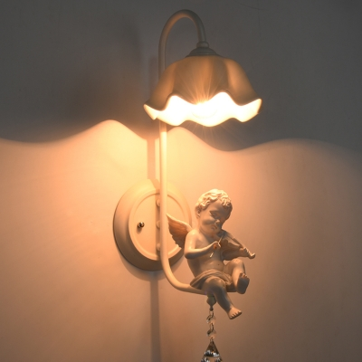 Modern Bedroom 1 Light Downlighting Angel Baby Wall Light in White Finish