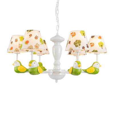 Bird Suspension Light Boys Girls Room Fabric Shade 3/5/6 Lights Chandelier Lamp in White Finish