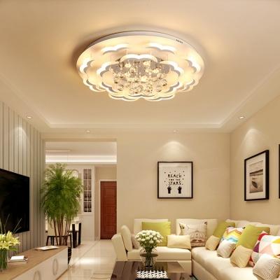 Modern Led Flush Mount Light Crystal Ball Flushmount Ceiling For