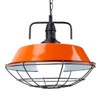 Multicolors Modern LED 1 Light Hanging Pendant Light with Metal Cage for Dining Room Restaurant