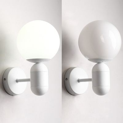 White Glass Armed Wall Lamp Simplicity Modern Hallway 1 Head Wall Light Sconce for Children
