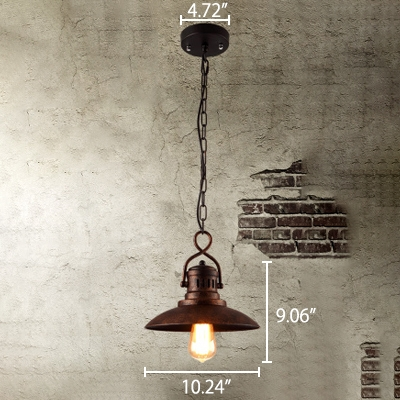 """Image of """"10.2"""""""" Wide Weathered Bronze Finish Open Bulb Single Pendant in Vintage Style"""""""