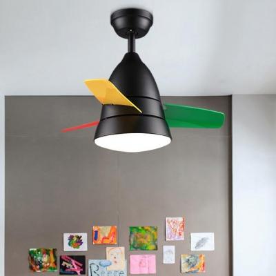 3 Colorful Blade Unique Kids Ceiling Fan in Satin Black/Silver 14.18'' W
