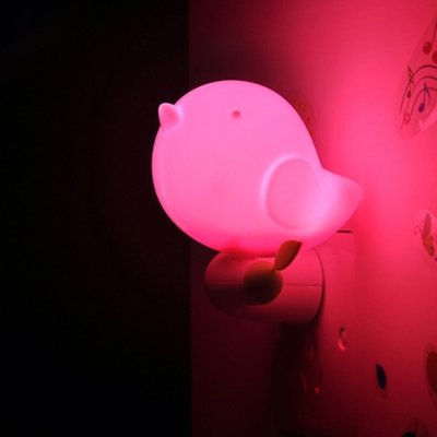 Bright Light Plug-in Little Bird Kids Mini Night Light in Pink