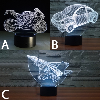Button Switch/Usb Touch/Remote Motorbike/Car/Airplane Acrylic Night Light for Boys Bedroom