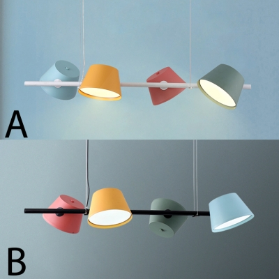 4 Lights Cone Hanging Chandelier Nordic Style Metal Hanging Light in Multi Color for Dining Room