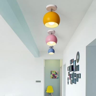 Dome 1 Bulb Semi Flush Light Minimalist Porch Kitchen Metal Semi Flush Mount Ceiling Light
