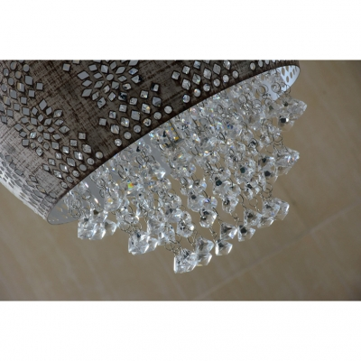 Crystal Accent White/Textured Black Single Light Hanging Lamp for Cafe Restaurant