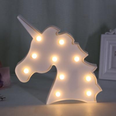 Decorative Plastic Unicorn Kids Night Light in Pink/White