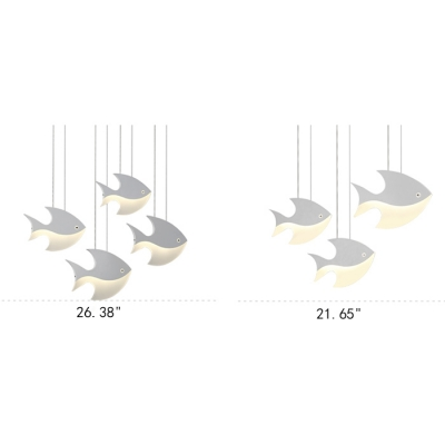 Fish Shape 3/4/5 Lights Chandelier for Kids Bedroom