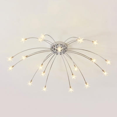 Glass Sparkling Star 15/21 Mini Light Ceiling Chandelier in Brushed Nickle