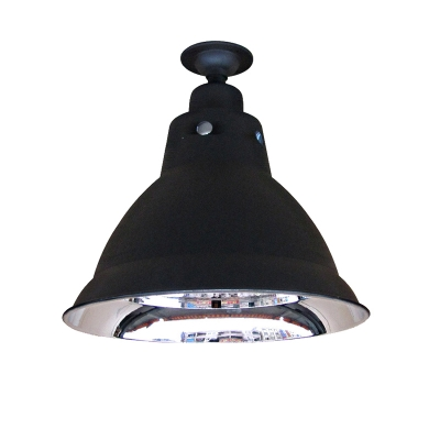 Industrial Style Single Bulb Pendant Light in Matte Black Finish with Dome Shade