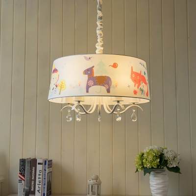 Drum 3/5 Lights Hanging Chandelier White Finish Fabric Shade Suspended Light for Boys Girls Room