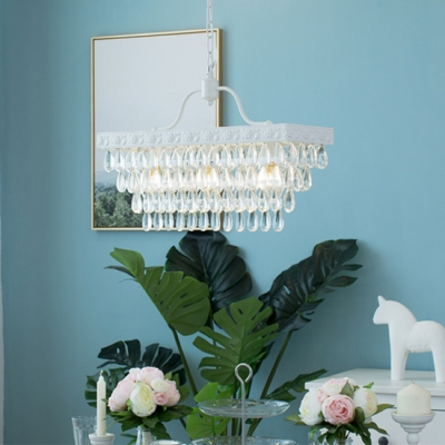 Modern Chandelier Rectangle Crystal Chandelier 3 Light White Pendant Chandelier