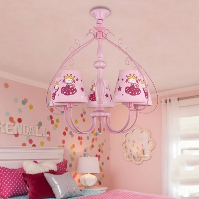 Shaded 5 Lights Hanging Lamp with Princesses Design Red/Pink Metallic Chandelier for Girls Bedroom