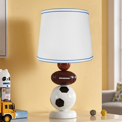 White Drum Table Lamp Sports Theme Fabric 1 Head Standing Table Light for Boys Bedroom