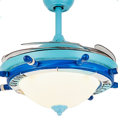 Nautical Style Reversible Bowl Shade Metal Ceiling Fan Light in Blue/White