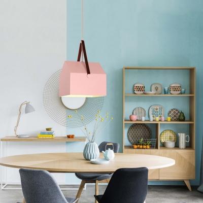 Geometric Pendant Lamp Minimalist Macaron Metal 1 Light Drop Ceiling Lighting for Girls Bedroom