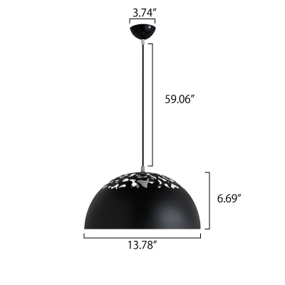 Satin Black Finish Hollowed-Out Shade Mini Single Pendant for Coffee House