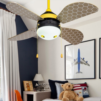 14.18'' Wide Honeybee 4 Blade Cartoon Kids Ceiling Fan with Light and Pull Chain