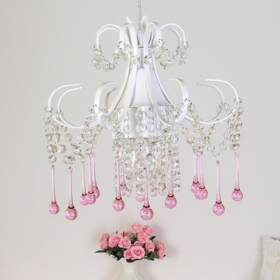 Country Mini Crystal Pendant Light Dining Room Bathroom Crystal Light with Pink Balls