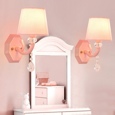 Kid Wall Light CrystaL Ball Drum Shade Wall Sconce for Girls Bedroom in Pink Finish