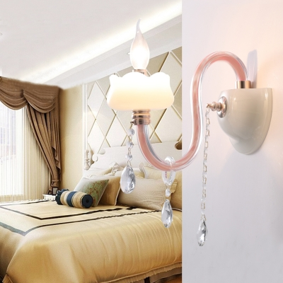Modern Crystal Wall Lamp Pink Gooseneck Crystal Wall Sconce for Girls Room