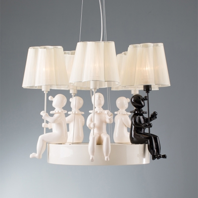 Puppet Decorative 3/5 Light Chandelier Light with Fabric Coolie Shade