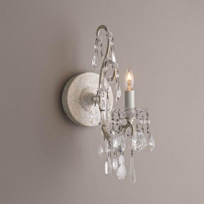 Vintage Wall Light Single Light Crystal Sconce Candle Style Wall Lamp with Antique White Backplate