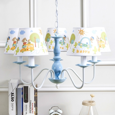 Lovely Coolie 5 Lights Hanging Lamp Blue Finish Fabric Shade Suspended Lamp for Baby Kids Room