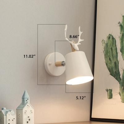 Down Lighting Antler White 1 Bulb Wall Light with Metal Base