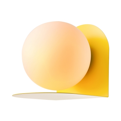 Milky Glass Orb Wall Light Sconce Colorful Nordic Hallway 1 Light Sconce Light with Metal Base