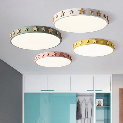 Drum Shade Flush Mount Light Contemporary Macaron Acrylic Ceiling Fixture with Star Decoration