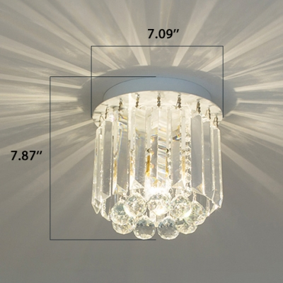 Modern Crystal Ceiling Light Kids Bedroom Single Light Crystal Flushmount Light in White