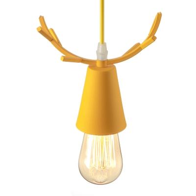 Antler Pendant Lamp Cartoon Modernism Kids Youth Bedroom Metal Single Light Hanging Light