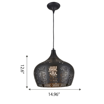 Post Modern Industrial Style One Bulb Hanging Fixture with Hollowed-out Metal Shade 12.60