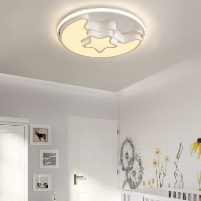 Quique Designer Thin Kids Room Ceiling Light in Moon and Star Shade