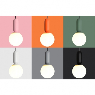 White Glass Globe Suspension Light Modern Fashion Living Room Single Head Hanging Lamp