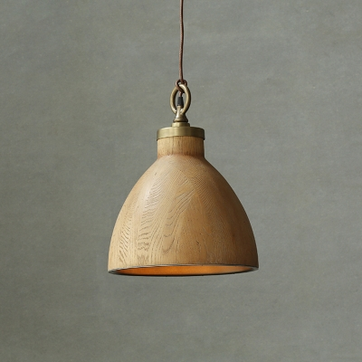 Light Wooden-Grain Natural Style Study Room Single Hanging Pendant Lamp