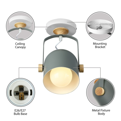 Rotatable Bucket Shade Wall Light Nordic Simple Foyer Metallic 1 Light Wall Mount Fixture