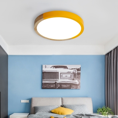 Circular Shape LED Ceiling Fixture Macaron Simple Living Room Acrylic Flush Light Fixture