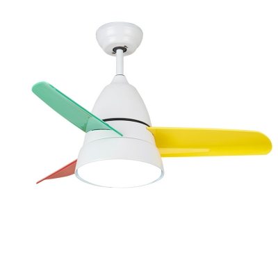 Colorful Blade Children Ceiling Fan with Light Globe 14.18'' Wide White/Green Kids Bedroom Ceiling Light ( 3-Blade )
