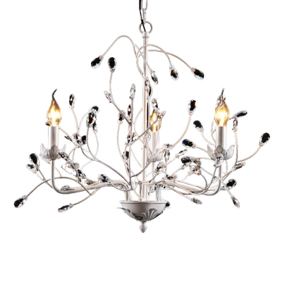 French Country Chandelier 3 Light Flower Leaves Candle Style White