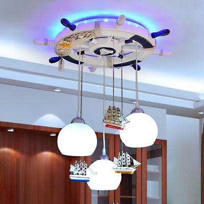 Mediterranean Round Rudder Chandelier Boys Room White Glass 3 Light Ceiling Light in Chrome