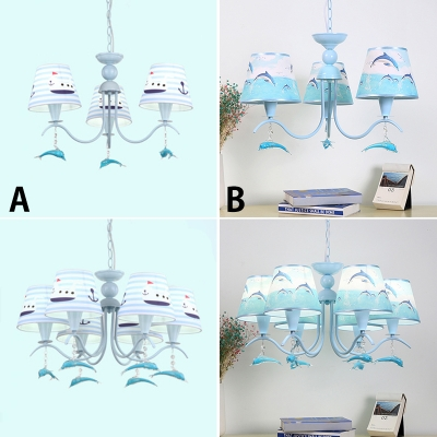 Fabric Dolphin Hanging Chandelier Boys Bedroom 3 6 Lights Ceiling In Sky Blue