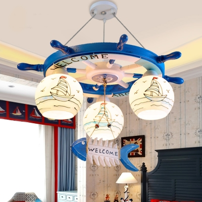 Boys Room Ship Wheel Chandelier Light Mediterranean Glass 3 Lights Hanging Light fixtures