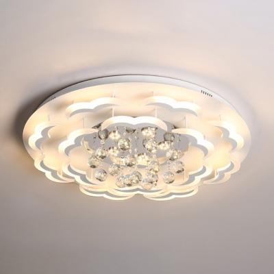 110V 120V Modern Led Flush Mount Light Crystal Ball Flushmount Ceiling For Living Room