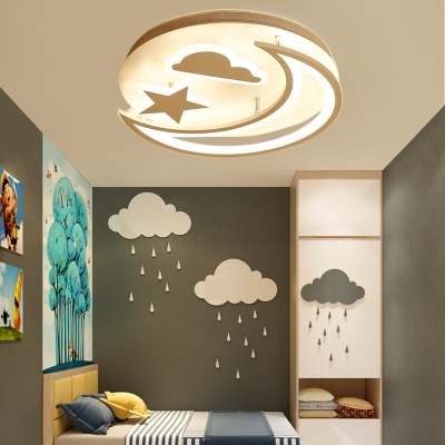 Modern Star Moon and Cloud Kids LED Ceiling Light in Metal Acrylic